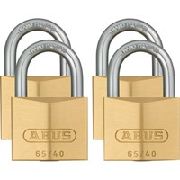 Abus 65 Series Compact Brass Padlock Pack of 4 Keyed Alike