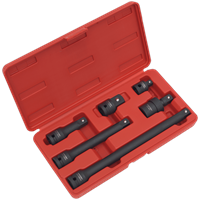 "Sealey 6 Piece 1/2"" Drive Impact Socket Adaptor and Extension Bar Set"
