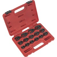 "Sealey 15 Piece 3/8"" Drive Crow Foot Spanner Set Black Metric"