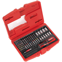 Sealey 50 Piece Fine Tooth Ratchet Screwdriver Bit and Socket Set