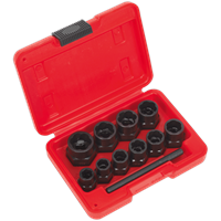 "Sealey 10 Piece 3/8"" Drive Bolt Extractor Set"