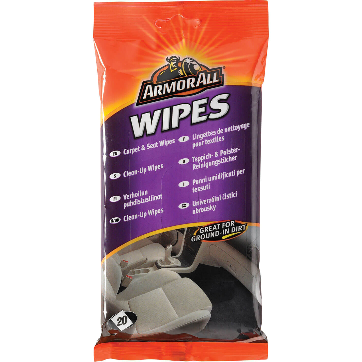 Image of Armorall Carpet & Seat Wipes Pouch Pack of 20