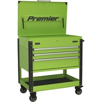 Sealey AP3MHV Tool Trolley 3 Drawer Heavy Duty Hi-Vis Green