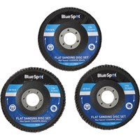 BlueSpot 3 Piece Flap Disc Set 115mm