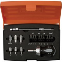 Bahco 18 Piece Stubby Ratchet Screwdriver and Bit Set
