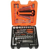 Bahco 138 Piece Combination Drive Hex Socket, Screwdriver Bit & Crows Foot Spanner Set Metric