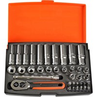 "Bahco 37 Piece 1/4"" Drive Deep Hex Socket & Bit Set Metric"