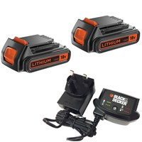 Black & Decker Genuine 18v Twin Li-ion Battery & Charger Pack 1.5ah
