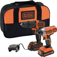 Black and Decker BCK25S2S 18v Cordless Combi Drill and Impact Driver Kit
