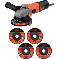 Black and Decker BEG010A5 Angle Grinder + 5 Discs 115mm