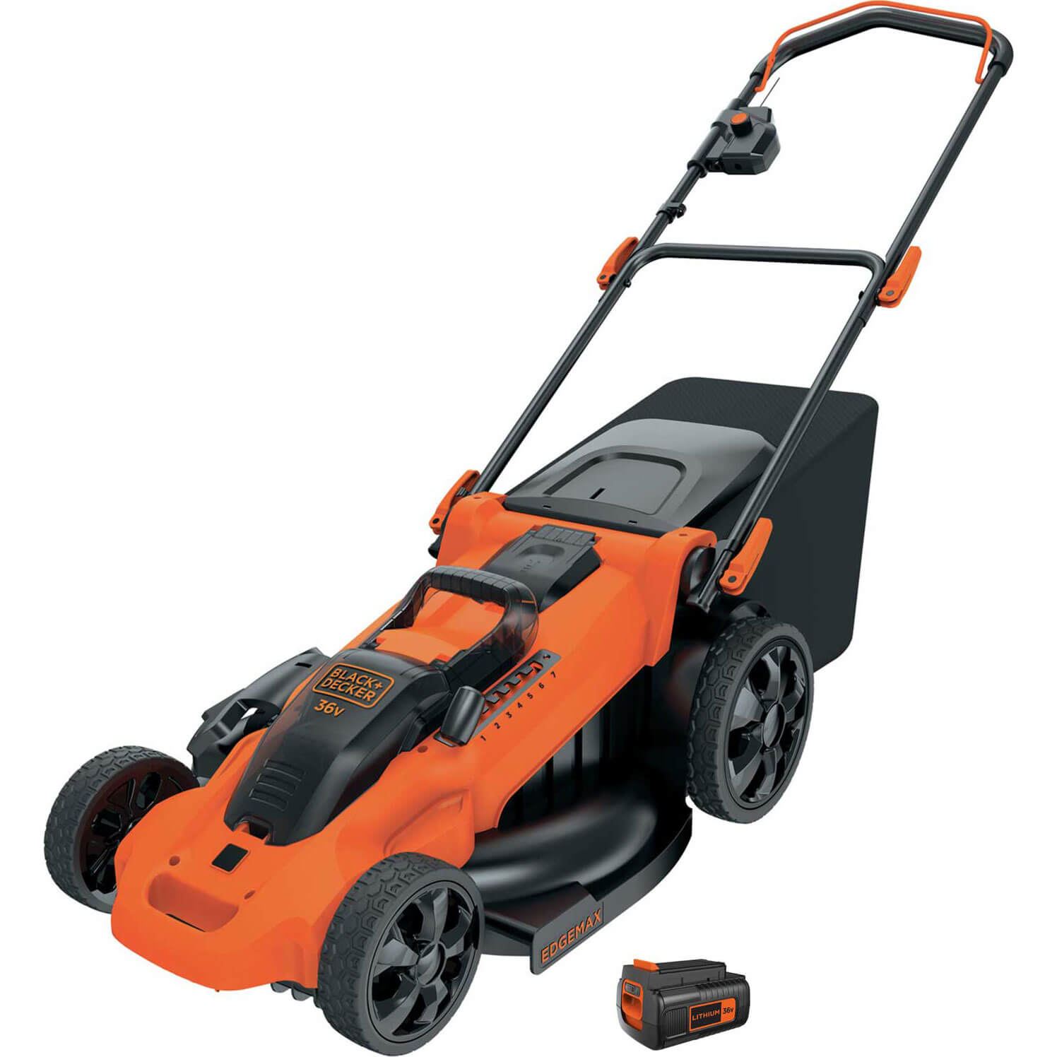 Image of Black and Decker CLMA4820L 36v Cordless Autosense Rotary Lawnmower 480mm 1 x 2ah Li-ion Charger