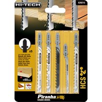 Black & Decker X29215 Piranha 5 Piece Hi Tech Wood HCS T Shank Jigsaw Blade Set