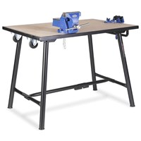 Armorgard Tuffbench Heavy Duty Folding Steel Workbench with Vice and Wheel Kit