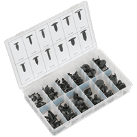 Sealey 168 Piece Trim Clip Assortment for GM, Chrysler and Ford Vehicles