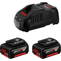 Bosch PRO GAL 1880 Genuine 18v Cordless Battery Charger and 2 x CoolPack Li-ion Batteries 5ah