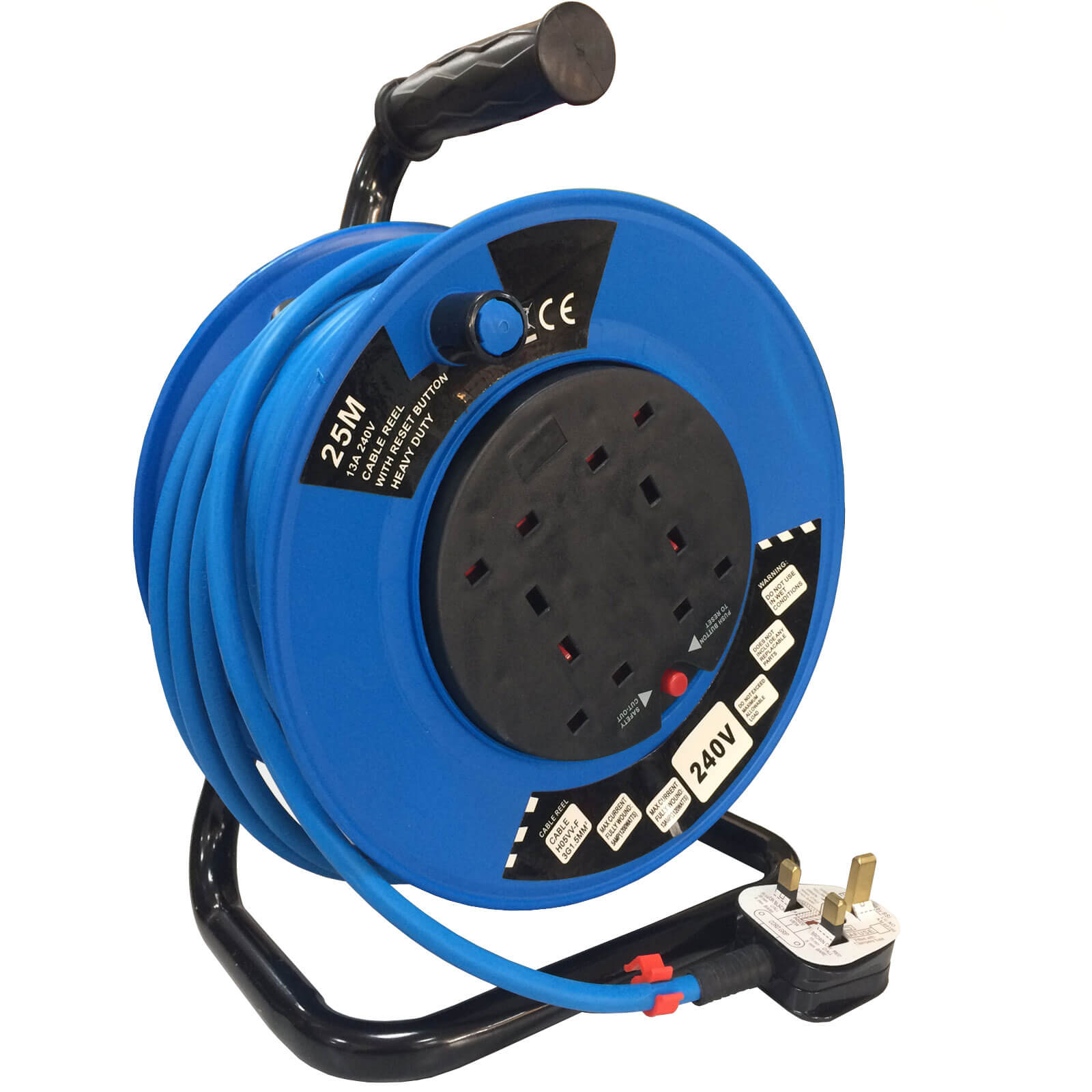 Sirius 4 Socket Cable Extension Reel 240v 25m
