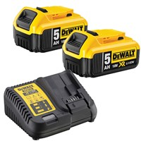 DeWalt 18v XR Cordless Twin Li-ion Battery and Charger Pack 5ah