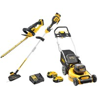 DeWalt 18v XR Cordless Lawnmower, Hedge Trimmer and Grass Trimmer Kit