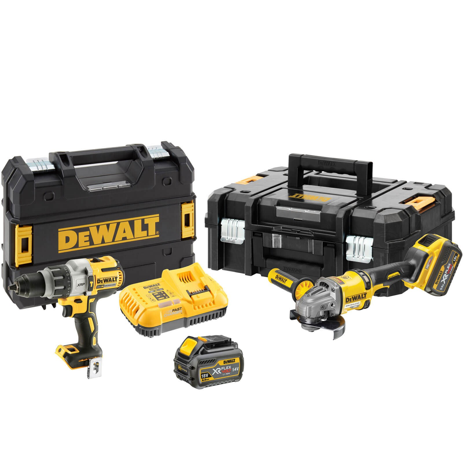 DeWalt DCK2055T2T 54v XR Cordless FLEXVOLT Drill and Angle Grinder Kit