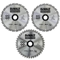 DeWalt 3 Piece 216mm Circular Saw Blade Set