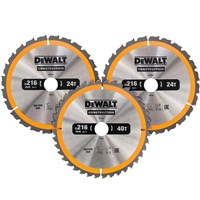 DeWalt 3 Piece 216mm Construction Circular Saw Blade Set