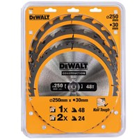 DeWalt 3 Piece 250mm Construction Circular Saw Blade Set