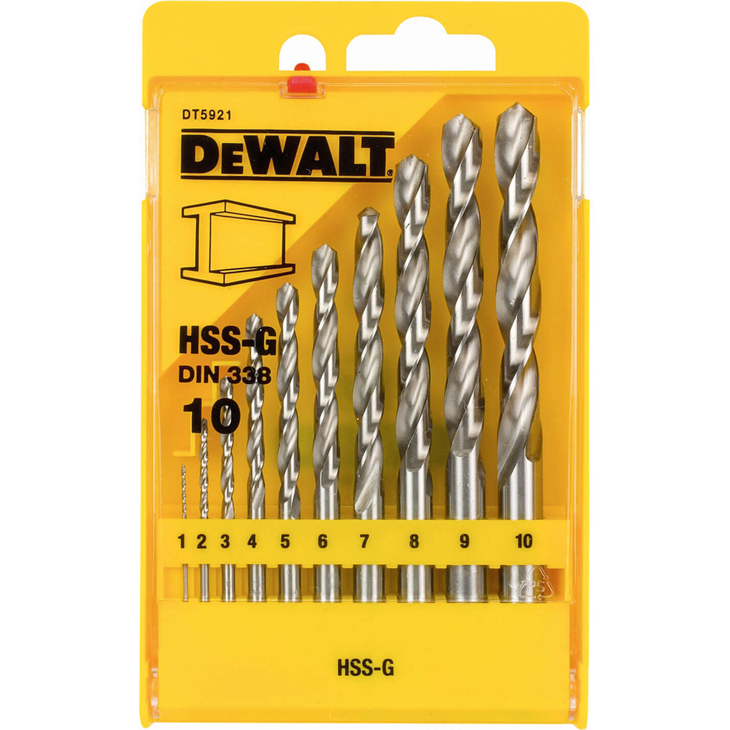 Image of DeWalt 10 Piece HSS-G Metal Drill Bit Set