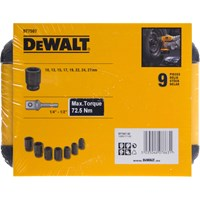 "DeWalt 9 Piece 1/2"" Drive Impact Socket Set Metric"
