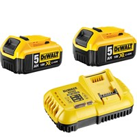 DeWalt 18v XR Twin Li-ion Battery & Fast Charger Pack 5ah