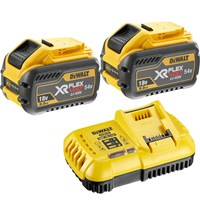 DeWalt 54v Cordless XR FLEXVOLT Twin Li-ion Battery & Fast Charger Pack 9ah
