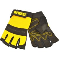 DeWalt Fingerless Synthetic Padded Leather Palm Gloves