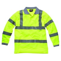 Dickies Mens Hi Vis Long Sleeve Polo Shirt