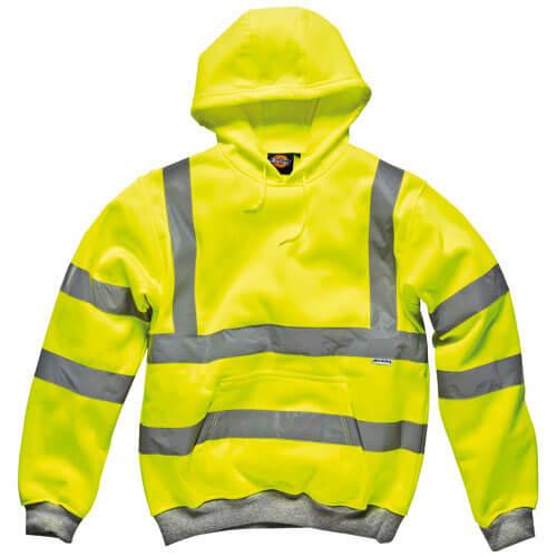 Dickies Mens High Vis Safety Hooded Sweatshirt Yellow L