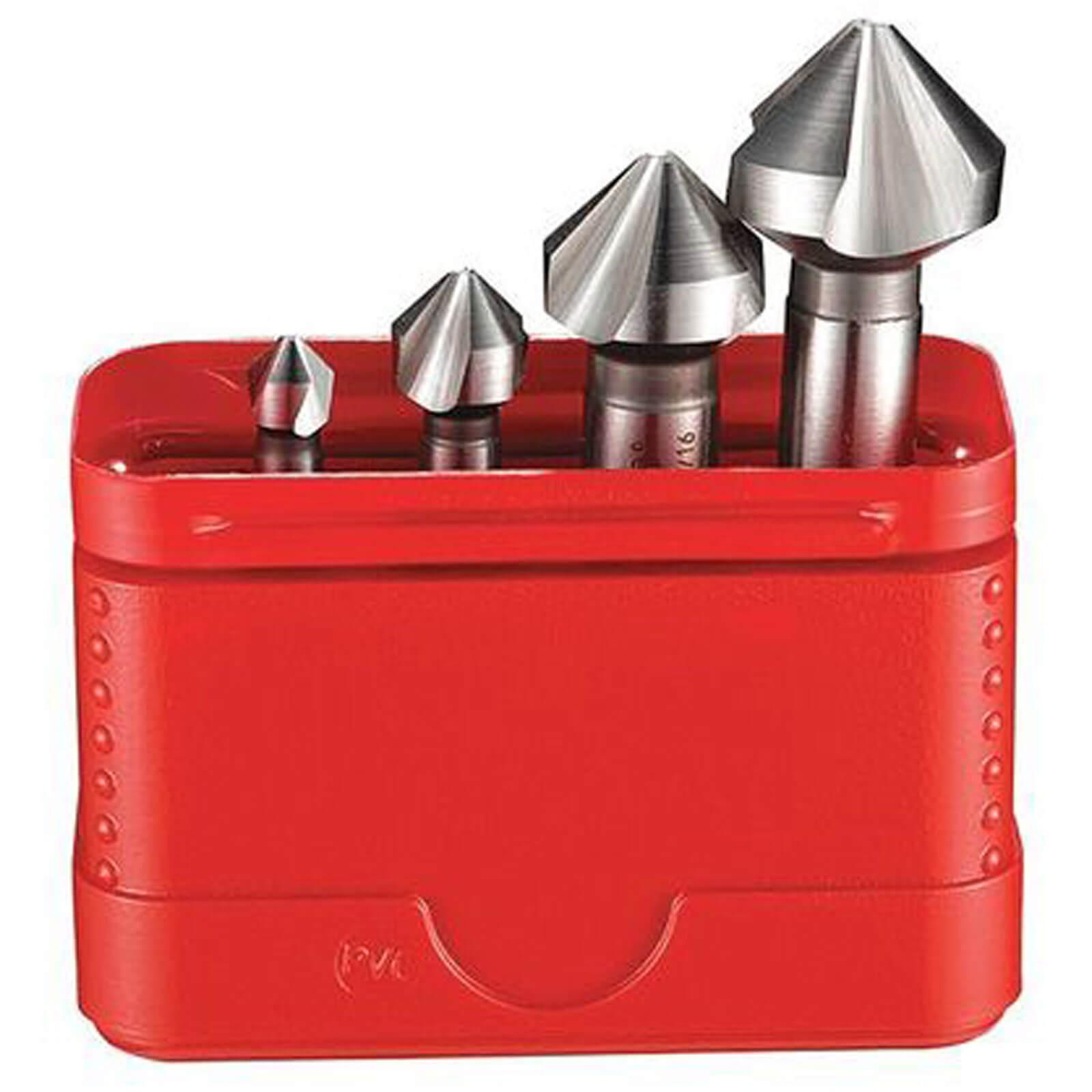 Dormer G2362 4 Piece HSS Straight Shank 90° Countersink Set