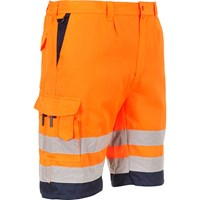 Portwest Mens Class 1 Hi Vis Poly Cotton Shorts