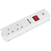 Sealey 2 Socket Extension Lead 2 USB Sockets
