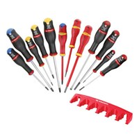 Facom Protwist 12 Piece Insulated Slotted, Phillips and Pozi Screwdriver Set