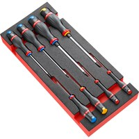 Facom Protwist 8 Piece Slotted, Phillips and Pozi Screwdriver Set in Foam Module Tray