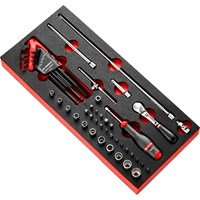 "Facom 45 Piece 1/4"" Drive Locking Socket, Hexagon Key, Screwdriver & Bit Set Imperial in Module Tray"