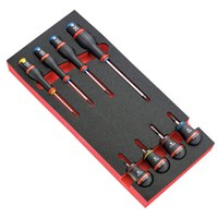 Facom Protwist 8 Piece Slotted, Phillips and Pozi Screwdriver Set in Module Tray
