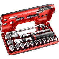 "Facom 21 Piece 1/2"" Drive Extendable Ratchet & Hex Socket Set Metric in Detection Box"