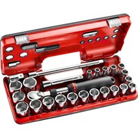 "Facom 25 Piece 1/2"" Drive Extendable Ratchet & Socket Set Metric in Detection Box"