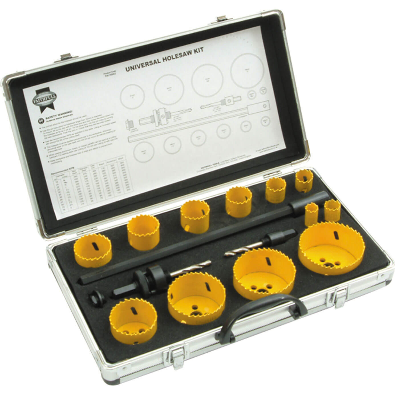 Image of Faithfull 16 Piece Universal Hole Saw Kit