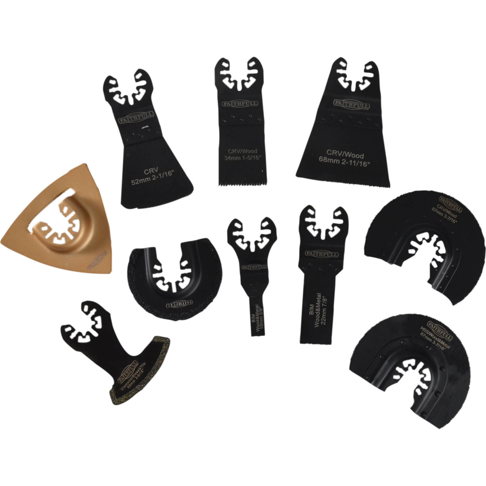 Image of Faithfull 10 Piece Oscillating Multi Tool Accessory Set