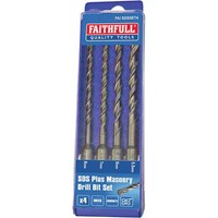 Faithfull 4 Piece SDS Plus Drill Bit Set