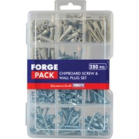 Forgefix Forge Pack 280 Piece Chipboard Screw and Wall Plug Kit