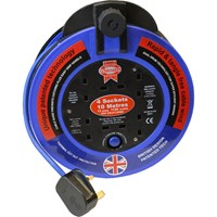 Faithfull 4 Socket Fast Rewind Cable Extension Reel 240v