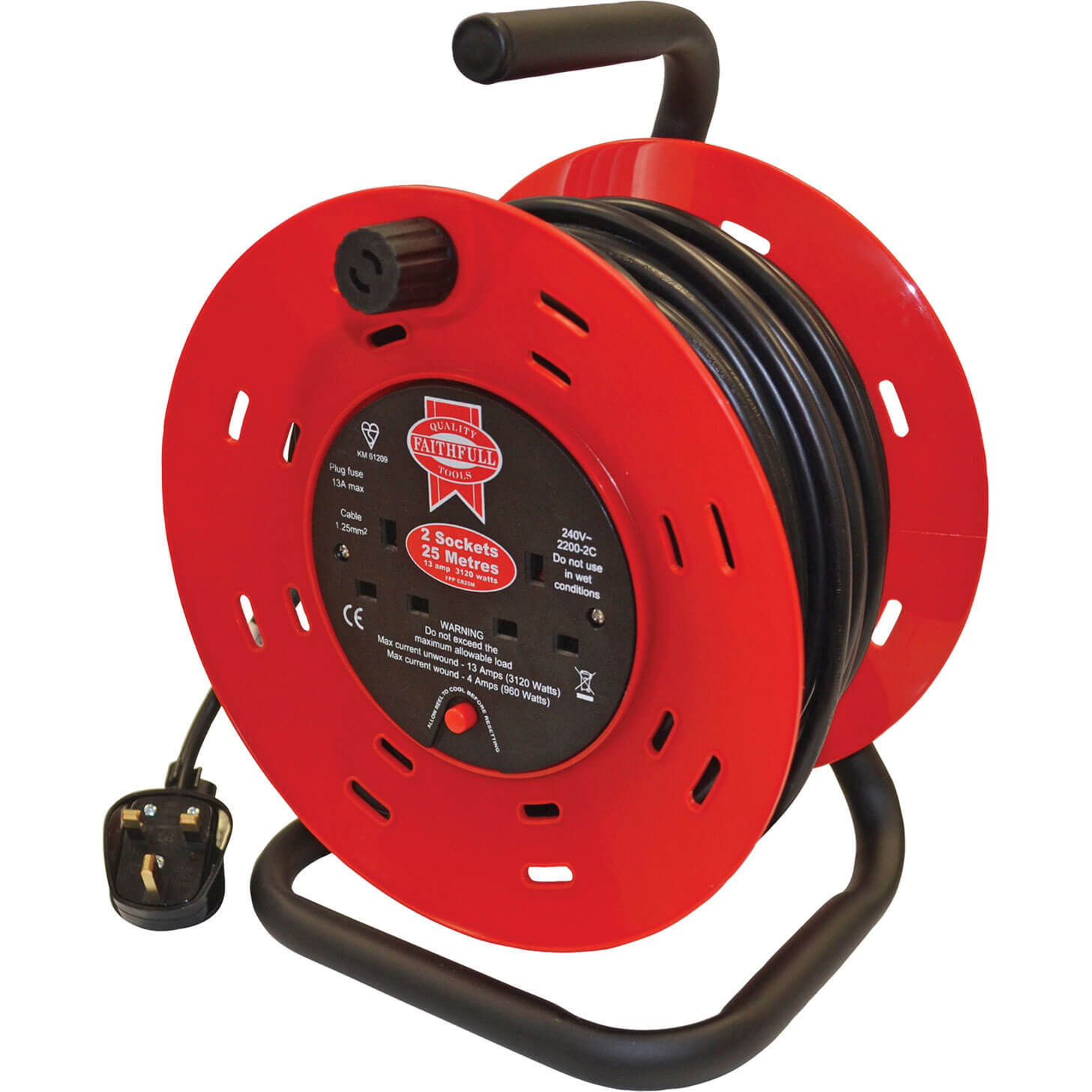 Faithfull 2 Socket Cable Extension Reel 240v 25m