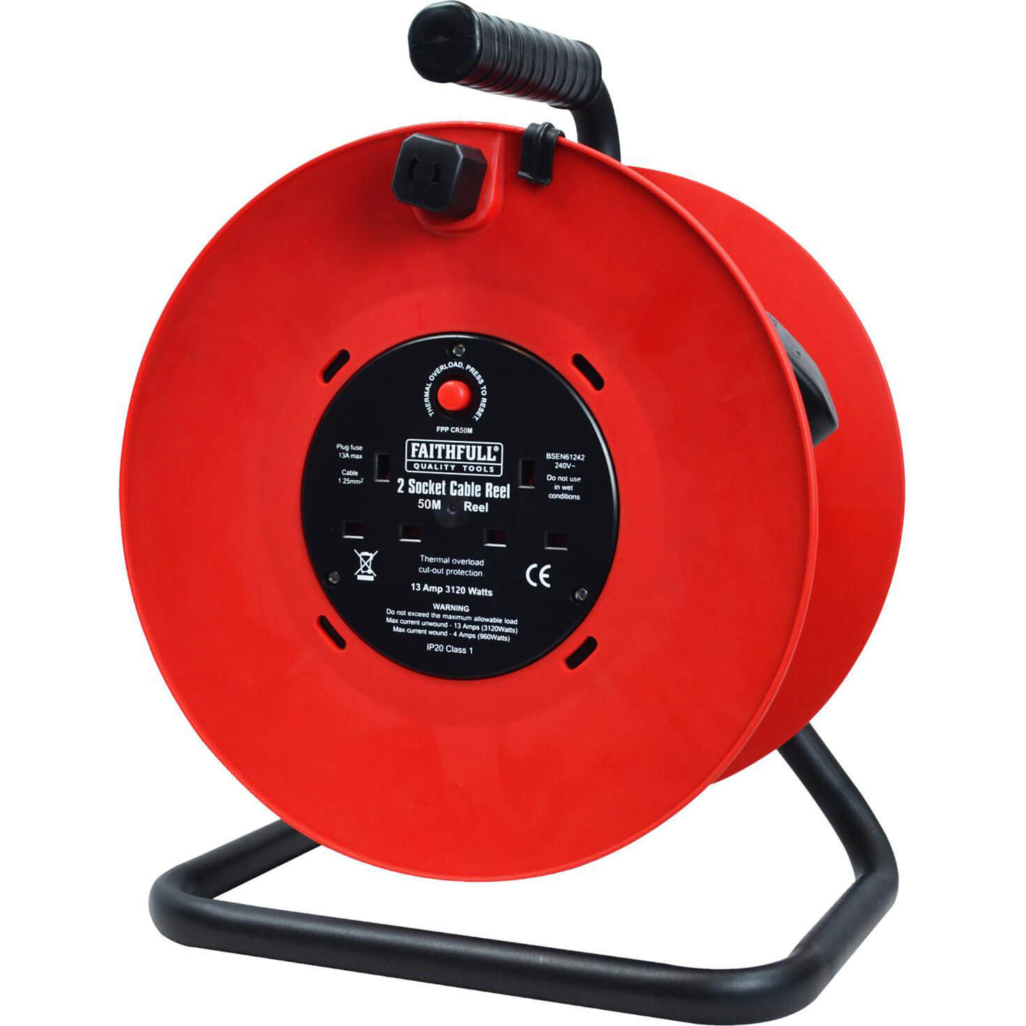Faithfull 2 Socket Cable Extension Reel 240v 50m