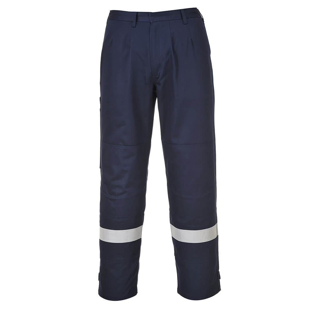 Image of Biz Flame Plus Mens Flame Resistant Trousers Navy Blue 2XL 34""